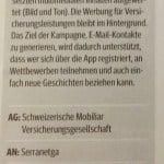 Best of Swiss Apps 2015, Silber in der Kategorie Campaigns